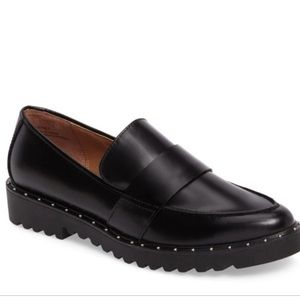 Halogen Emily studded black leather loafers 7.5